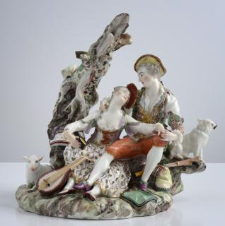Schäferpaar, um 1765, Johann Christoph Haselmeyer, Porzellan-Manufaktur Ludwigsburg (Stiftung Kunsthaus Heylshof Worms, Foto: Stefan Blume, Worms)