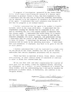 """Einverständniserklärung für eines der Experimente im Rahmen von """"Operation Whitecoat"""" / © Foto: US Army/public domain/wikimedia commons"""