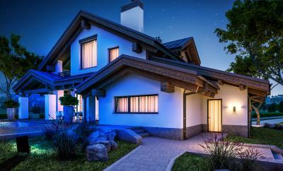 Luminea Home Control Outdoor-Fluter LED-450 mit RGB-CCT-LEDs, Bluetooth & App, 4.500 lm, 60 Watt, IP65