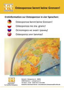 Osteoporose kennt keine Grenzen - Erstinformationen vom Netzwerk-Osteporose e.V. in 4 Sprachen. Bild copyrigt Karin G. Mertel