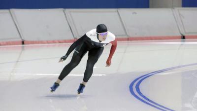 Christine Nesbitt beim Training im Olympic Oval in Calgari/Kanada / Christine Nesbitt / Foto: Mark Caswell, Copyright: Berlin Producers Media GmbH / Pre TV