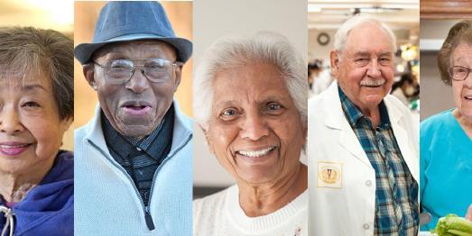 Gesichter rüstiger Rentner aus Loma Linda/USA (v.l.n.r.) D. Zane (85), E.E. Rogers (101), H. Gurusamy (86), W. Heisler (84) und A. Leon (92)
