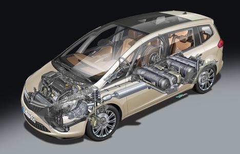 Energieklasse A: Bei einem Verbrauch von gerade einmal 4,7 Kilogramm H-Gas auf 100 Kilometer im kombinierten Zyklus stößt der Opel Zafira Tourer 1.6 CNG Turbo ecoFLEX nur 129 Gramm CO2 pro Kilometer aus. Foto: Adam Opel AG