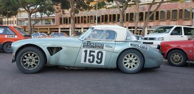 Rallye-Auto im Ziel: Austin Healey