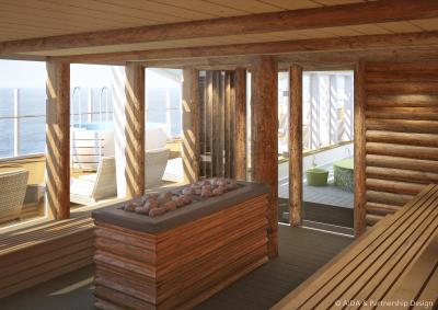 Liebe zum Detail: Die Kelo-Sauna verströmt die urige Romantik traditioneller finnischer Saunahütten und bietet ebenfalls freien Blick auf das Meer. Foto: AIDA Cruises