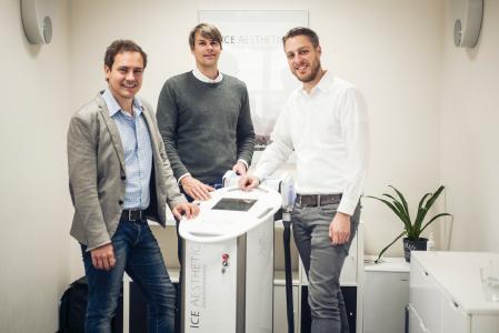 Die Gesellschafter von ICE AESTHETIC: (von links) Dr. Aaron W. Baur, Nikolaus Rickers und Claudio Gasperi