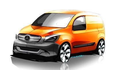 Drei Modelle für die Zukunft: Der Elektro-Transporter Mercedes-Benz Vito E-CELL, das Premium-Showcar Mercedes-Benz Viano Vision Pearl und eine Skizze des neuen Mercedes-Benz Citan (Foto: Daimler AG)
