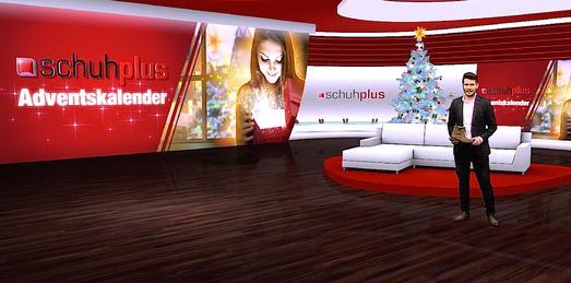Store manager Alexander Heimann im TV-Studio von schuhplus - Schuhe in Übergrößen