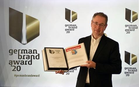 Haus Rabenhorst Geschäftsführer Klaus-Jürgen Philipp bei der Auszeichnung mit dem German Brand Award für die Traditionsmarke Rotbäckchen