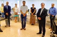Das Team des neuen internationalen Studiengangs Medical Microtechnology (v.l.): Christina Debbeler (UzL), Horst-Günther Rubahn (SDU), Ksenija Gräfe (UzL), Jakob Kjelstrup-Hansen (SDU), Silke Venker (THL), Thorsten Buzug (UzL), Stephan Klein (THL, Projektleiter). Nicht auf dem Bild: Till Leißner und Frank Jürgensen (beide SDU, DK) / Bild: U. Wenkebach, THL