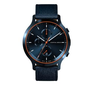 Lilienthal Berlin Chronograph Blue Orange with leather strap