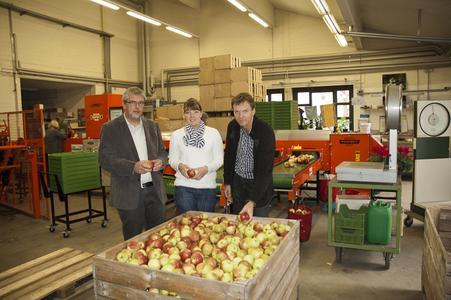 Sind auf den Geschmack gekommen: (v.l.) Prof. Dr. Werner Dierend,  Projektmitarbeiterin Kirsten Stallmann und Prof. Dr. Ulrich Enneking von der Hochschule Osnabrück entwickeln einen Qualitätsindex für Äpfel