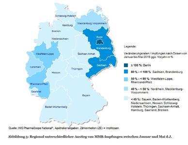 Abbildung 3: Regional unterschiedlicher Anstieg von MMR-Impfungen zwischen Januar und Mai d.J.