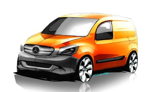 Front-Ansicht: Skizze des neuen Mercedes-Benz Citan