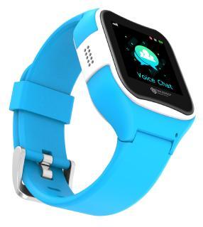 TrackerID Kinder-Smartwatch PW-130.kids mit GPS-/GSM-/WiFi-Tracking, SOS-Taste, blau, IP65