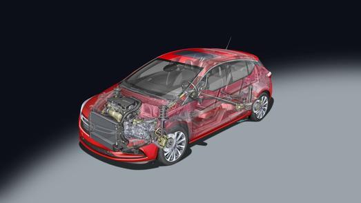Vierzylinder der jüngsten Generation: Der 1.4 Turbo mit Benzindirekteinspritzung ist ein Vollaluminiummotor und treibt den Opel Astra sowie den neuen Mokka X an / Foto: Adam Opel AG