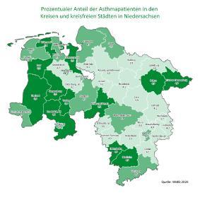 Gesundheitsatlas Asthma prozentuale Asthma Verteilung Niedersachsen