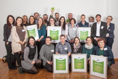 Die Bewerber für den i-work Business Award 2019. Foto: JenaWirtschaft/Tina Peißker