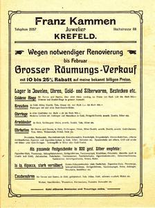 Historische Anzeige Franz Kammen