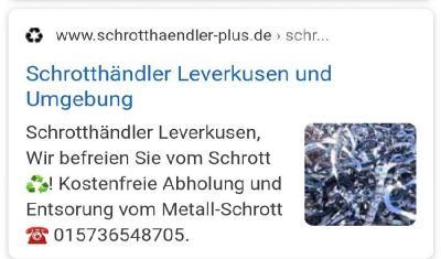 Kostenlose Schrottabholung Leverkusen Schrottabholung, Schrotthändler, Altmetall ,Eisen ,Kupfer ,Messing ,Zink Zinn ,Aluminium ,Stahl ,Elektroschrott