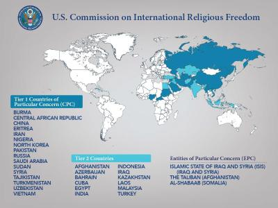 Besondere Besorgnis erregende Staaten und Entitäten aus Sicht der United States Commission on International Religious Freedom / © Poster: United States Commission on International Religious Freedom