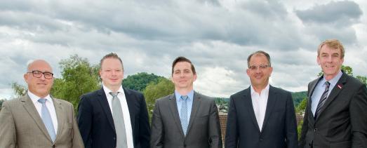 Der stellvertretende Hauptgeschäftsführer Rainer Neth, Alexander Schlick (Glaserhandwerk; Bad Saulgau), Maik Berger (Kraftfahrzeugtechnikerhandwerk; Sonnenbühl), Gerd-Rüdiger Siebert (Zimmererhandwerk; Tübingen) und Präsident Harald Herrmann