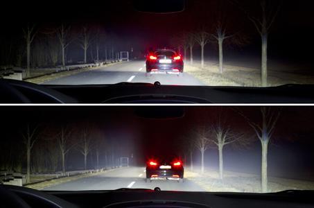 Technologie, die das Autofahren sicherer macht: Ohne LED-Matrix-Licht von Opel wird der Vordermann stark geblendet (oben). Mit LED-Matrix-Licht ist das nicht mehr der Fall – und die Umgebung bleibt trotzdem taghell erleuchtet