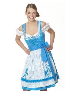 Krüger Dirndl Trachten Kleid Pünktchen blau-weiss gepunktet