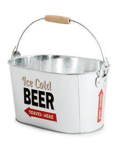 Bierkühler Metalleimer mit Flaschenöffner Party-Gadget silber