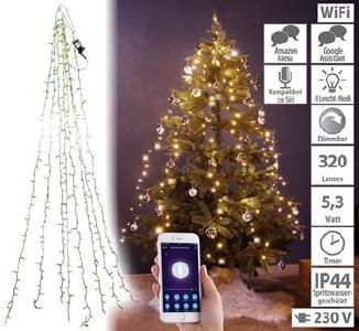 Lunartec WLAN-Tannenbaum-Überwurf-Lichterkette mit App, 6 Girlanden, 180 LEDs
