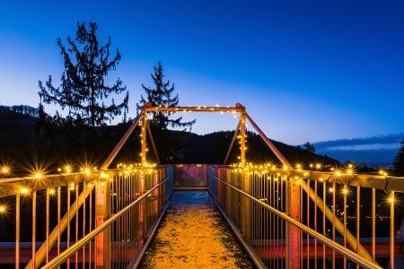 In Bad Harzburg leuchten die Tourist-Information, die Krone des Baumwipfelpfades, das Werner von Siemens Gymnasium und die Canossa-Säule am 25. November Orange
