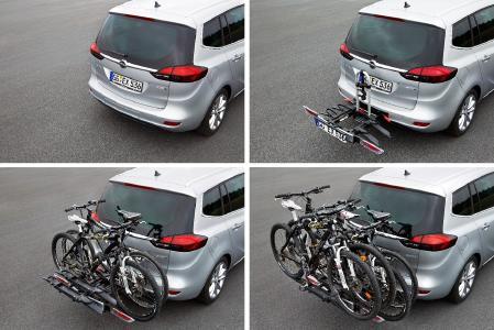 Einfacher geht's nicht: Der integrierte Opel FlexFix-Heckfahrradträger lässt sich wie eine Schublade aus dem Heck herausziehen. Bis zu vier Fahrräder lassen sich so mit dem Opel Zafira sicher transportieren