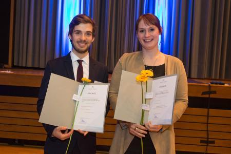 Christina Maria Thiel und Benjamin Franke, Preisträger beim StudyUp Award 2016 / Foto: Swaantje Hehmann