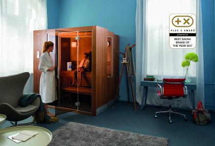 """The Plus X Award jury has already awarded multiple prizes to KLAFS for its pioneering, innovative products. (The image shows the space-saving S1 zoom sauna and the SaltProX compact dry salt inhalation device.) Now the experts in the jury have also awarded KLAFS the new """"Brand of the Year 2017"""" prize"""