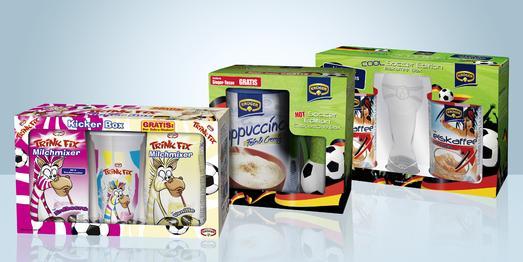 Der Sommer kann kommen: Krüger Soccer-Bundles mit Pokal-Glas, Sieger-Tasse und Gratis-Shaker im Handel