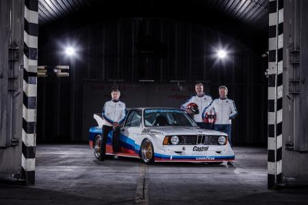 Fotoshooting, Jochen Neerpasch, Eddie Cheever, Marc Surer, BMW 320 Gr. 5