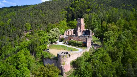 """Die Burg Freudenberg, auch Freudenburg genannt, ist die Ruine einer Hangburg bei Freudenberg im Main-Tauber-Kreis in Baden-Württemberg.   Die Verwendung des Fotos ist nur honorarfrei im Zusammenhang mit dieser Pressemitteilung und dem Copyrighthinweis """"TLT/Peter Frischmuth""""."""