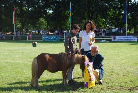 """Das zweitschönste Pony """"Toni"""" Tornado mit Herman Barth, Projektleiterin Mirjam Deponte und Dr. Ralf Ruhnau"""