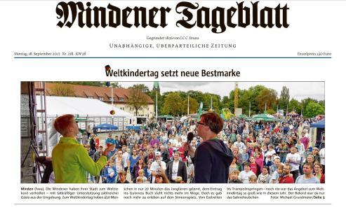 Titelseite Mindener Tagblatt