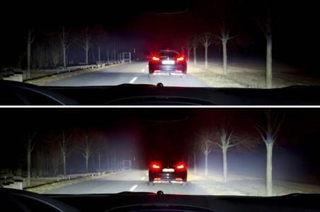 Mit herkömmlichem Abblendlicht kann der Fahrer des vorausfahrenden Fahrzeugs geblendet werden.
