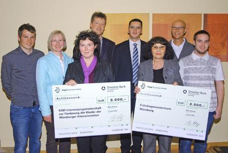 (v.l.n.r.): Benjamin Wahler (Würzburger), Susanne Mott, Ina Schmolke, Dr. Johannes Wirbelauer (alle KIWI e.V.), Jürgen Schürger (Vogel Business Media), Inge Dufey, Dr. Gerhard Schams (beide Frühdiagnose Zentrum Würzburg), Christian Iff (Würzburger)