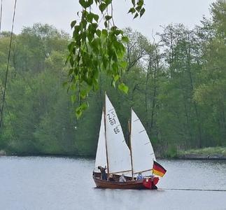 """Der """"Starke August"""" ist ein Holzboot mit ca. 7,50 m Länge und 2,15 m Breite. Gerudert wird er mit zehn Riemen. Die Besegelung des Kutters besteht aus der Fock, dem Groß- und Besansegel mit einer Gesamtsegelfläche von 23 qm. Optional kann der ZK10 auch mit Spinnaker gesegelt werden (Fotograf / Quelle: Lothar Brandenburg / WCW Wildau)"""