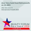"""Sieger beim Beauty Award 2020 im Bereich """"Innovativstes Produkt"""" in Europa. 1. Preis für unser Produkt Aloe Vera Gold Desinfektionsseife ALOE-MED"""