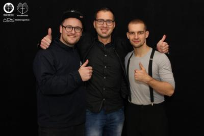 (V. l.) Lorris Blazejewski (Station B3.1), Benjamin Becker (blu:prevent) und Eric Stehfest (GZSZ, Station B3.1) / © ADK Medienagentur