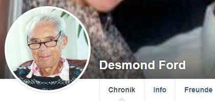 Facebook-Profil von Desmond Ford © Screenshot: Jens Mohr/APD
