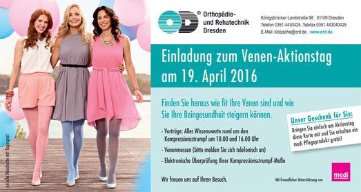 Das Orthopädie und Rehatechnik Dresden informiert am 19. April rund um Venen und gesunde, schöne Beine