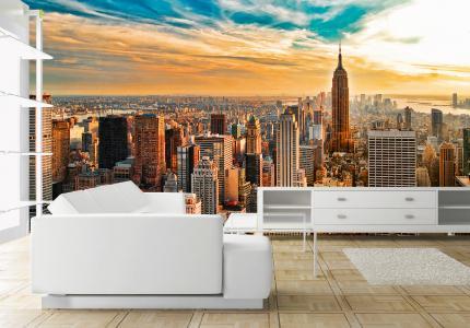 Als stünde man in einem New Yorker Penthouse: Die glasklare Bildschärfe des Skyline-Motivs von Erfurt JuicyWalls macht es möglich / Foto: epr/Erfurt JuicyWalls