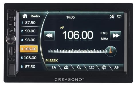 PX 2336 05 Creasono 2 DIN MP3 Autoradio mit Touchdisplay. Bluetooth und Freisprecher