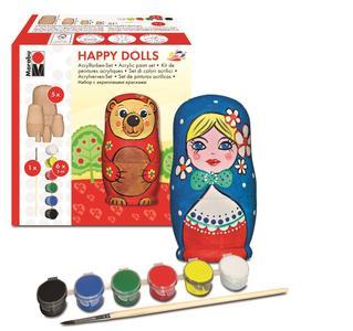Holzfiguren Selbst Bemalen Mit Dem Marabu Happy Dolls Acrylfarben