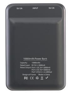ZX 2819 9 revolt Powerbank im Kreditkartenformat 10.000 mAh 2 USB Ports 2.4 A 12 W